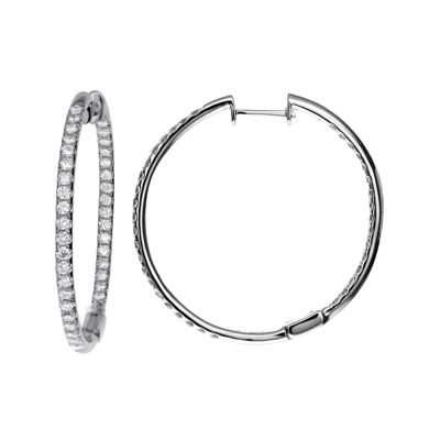 LIMITED QUANTITIES 1½ CT. T.W. Diamond Hoop Earrings