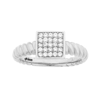 IN Love 1/4 CT. T.W. Diamond 10K White Gold Multi-Top Textured Ring