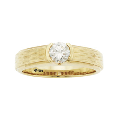 IN Love 1/3 CT. T.W. Diamond 14K Yellow Gold Textured Wedding Band