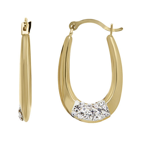 Crystal-Accent 14K Yellow Gold Hoop Earrings