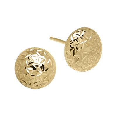 14K Yellow Gold Textured Ball Button Earrings