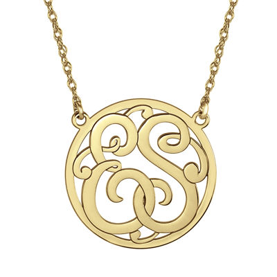 Personalized 25mm Round Cutout Monogram Necklace