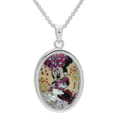 Disney Minnie Mouse Girls Oval Shaker Pendant Necklace