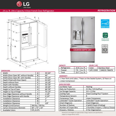 LG 23.7 cu. ft. 3-Door French Door Counter-Depth Refrigerator
