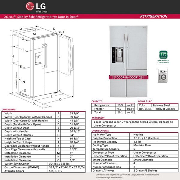 LG 26.1 cu. ft. Side-by-Side Refrigerator with Door-in-Door® Design