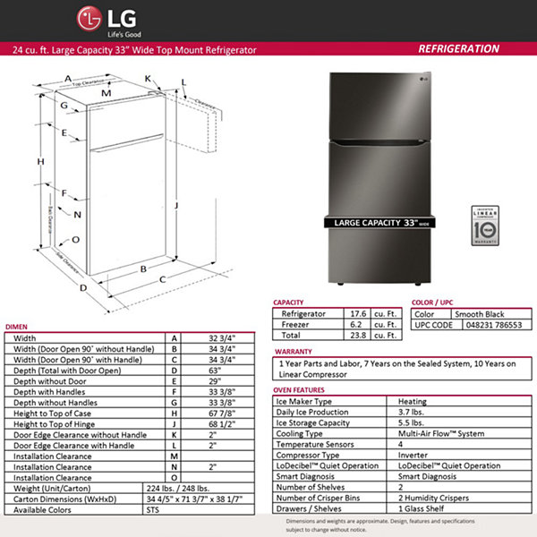 "LG ENERGY STAR® 23.8 cu. ft. 33"" Wide Top-Mount Refrigerator"