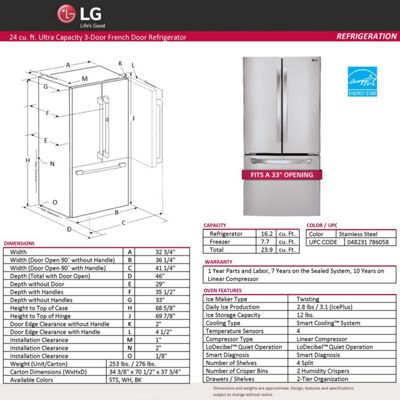 "LG ENERGY STAR® 23.9 cu. ft. 33"" Wide French Door Refrigerator"