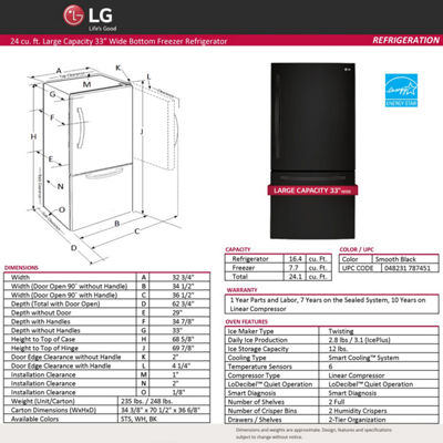 "LG ENERGY STAR® 24.1 cu. ft. 33"" Wide 2-Door Bottom-Mount Refrigerator"