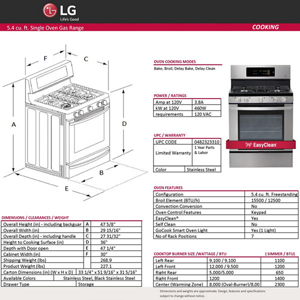 LG 5.4 cu. ft. Capacity Single Oven Gas Range with EasyClean®