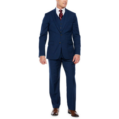 Stafford Blue Burgundy Glen Plaid Classic Fit Suit Separates