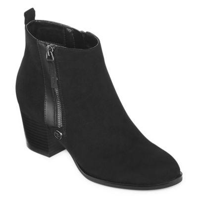 Liz Claiborne Womens Salem Block Heel Zip Bootie