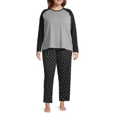 Sleep Chic Knit Long Sleeve Top and Pant Pajama Set-Plus