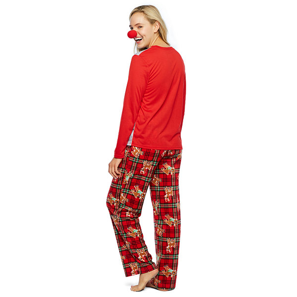 Rudolph The Red Nose Reindeer Womens Pant Pajama Set 2-pc. Long Sleeve Family