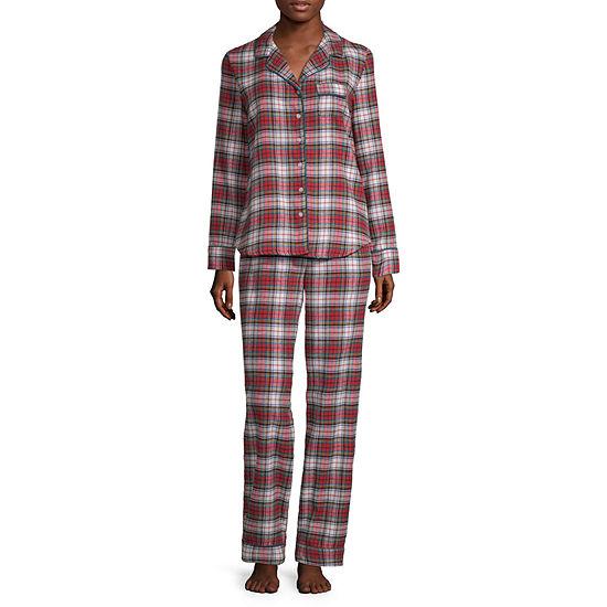 Liz Claiborne Notch Collar Flannel Pajama Set - JCPenney 7e27df392
