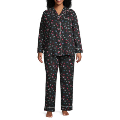 Liz Claiborne Notch Collar Flannel Pajama Set- Plus