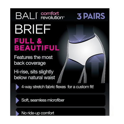 Bali Comfort Revolution Seamless 3 Pair Microfiber Brief Panty Ak88