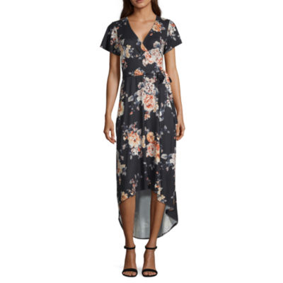 by&by Short Sleeve Floral Fit & Flare Dress-Juniors