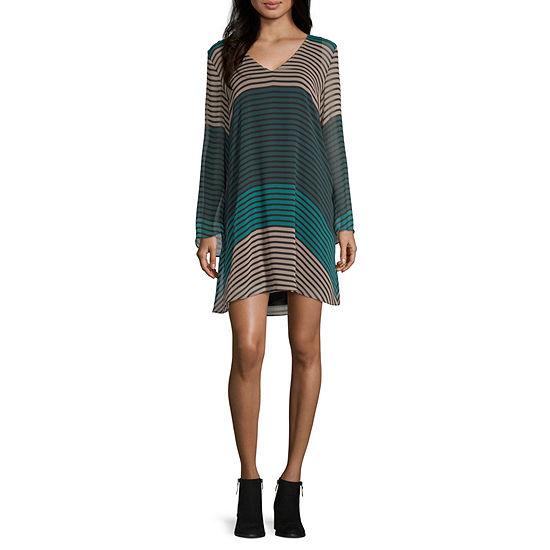 Weslee Rose Long Sleeve Striped Shift Dress
