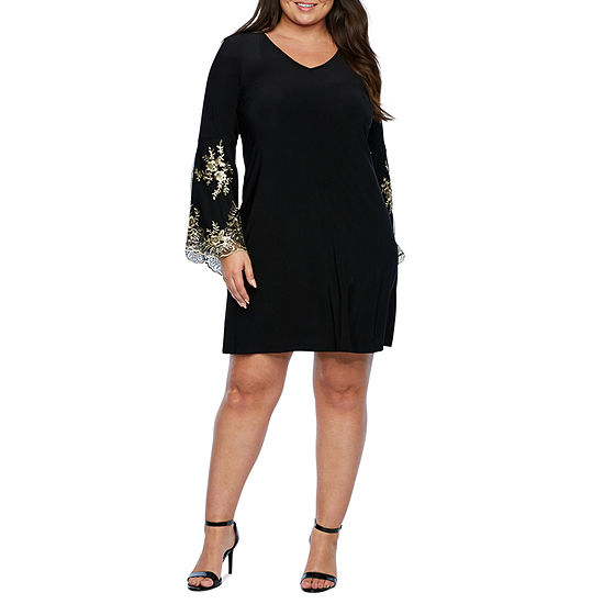 MSK Embroidered Long Sleeve Shift Dress - Plus