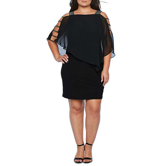 MSK 3/4 Sleeve Embellished Cape Shift Dress - Plus