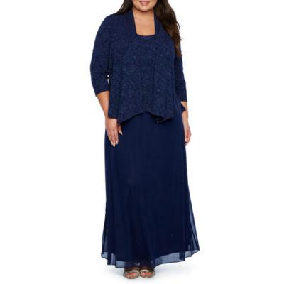 Onyx Nites 3/4 Sleeve Jacket Dress Gown - Plus