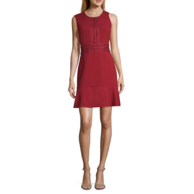 London Times Sleeveless Fit & Flare Dress-Petite