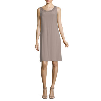 R & M Richards 3/4 Sleeve Shift Dress-Petite