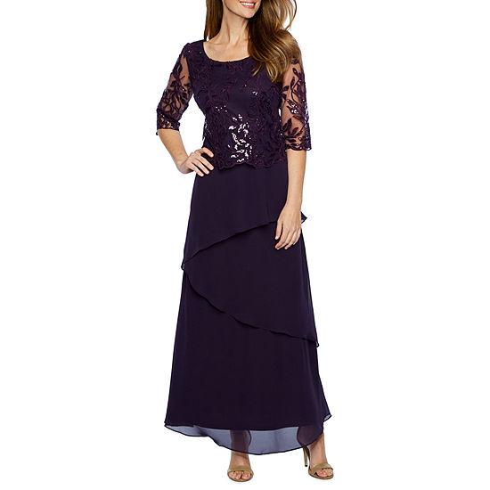 Maya Brooke 3/4 Sleeve Evening Gown