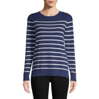 Liz Claiborne Long Sleeve Breton Pullover Sweater - Tall