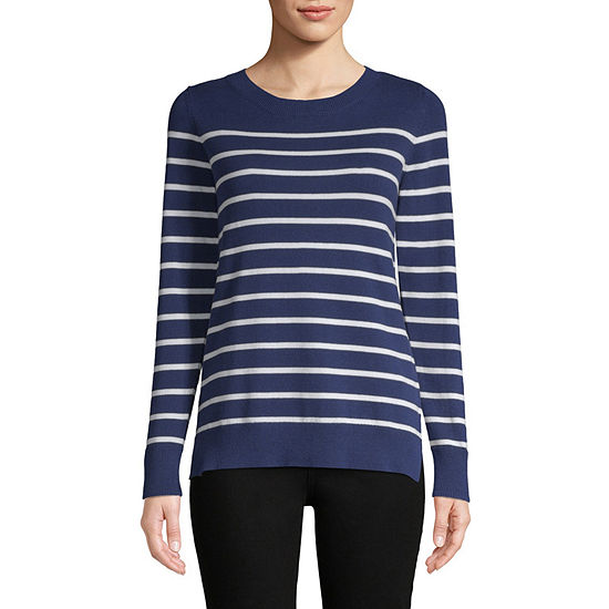 Liz Claiborne Long Sleeve Breton Pullover Sweater Tall Jcpenney