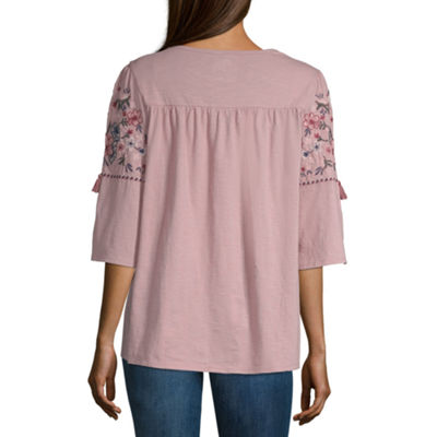 St. John's Bay Embroidered Elbow Sleeve Tee - Tall