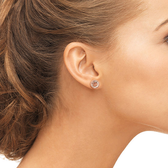 Simulated Morganite 14K Rose Gold Over Silver Stud Earrings