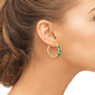 Green Emerald 10K Gold 18.1mm Oval Hoop Earrings