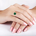 Womens Green Emerald 10K Gold Square Solitaire Cocktail Ring