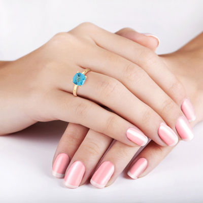 Womens Blue Topaz 10K Gold Square Solitaire Cocktail Ring
