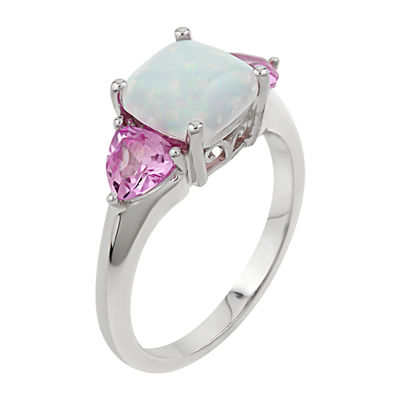 Womens White Opal Sterling Silver 3-Stone Cocktail Ring