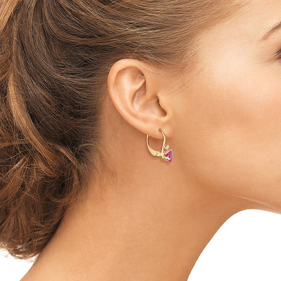 Lab Created Red Ruby 10K Gold Drop Earrings