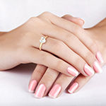 Womens Lab Created White Sapphire 10K Gold Heart Solitaire Cocktail Ring