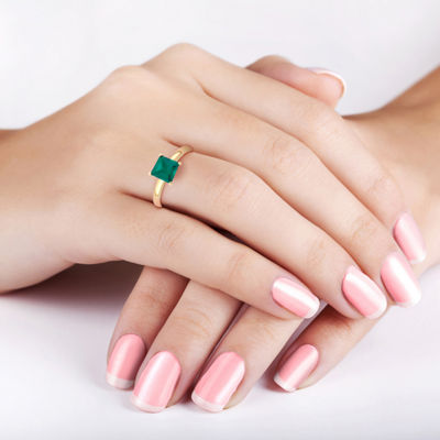 Womens Lab Created Green Emerald 10K Gold Engagement Ring