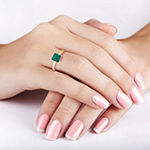 Womens Lab Created Green Emerald 10K Gold Solitaire Cocktail Ring