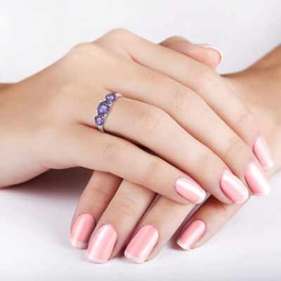 Womens Purple Amethyst Sterling Silver 3-Stone Ring