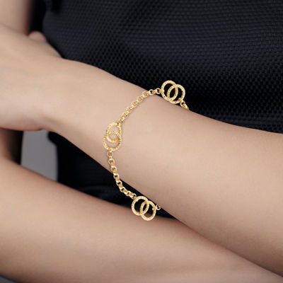 Made in Italy 14K Gold 7.5 Inch Solid Link Infinity Chain Bracelet