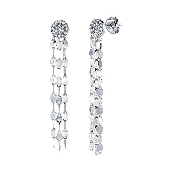 White Cubic Zirconia Sterling Silver Drop Earrings