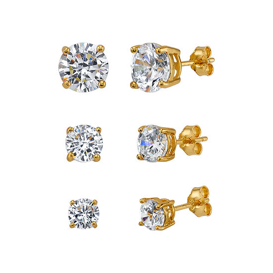 White Cubic Zirconia 14K Gold Over Silver Earring Set