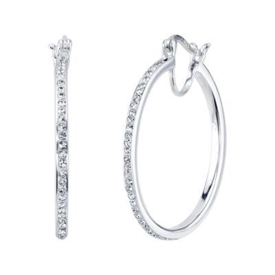 White Crystal Sterling Silver Hoop Earrings