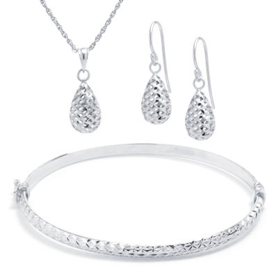 Diamond Cut Sterling Silver 3-pc. Jewelry Set