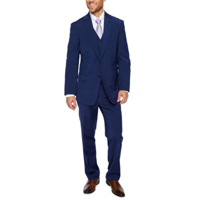 Claiborne Blue Solid Classic Fit Suit Separates