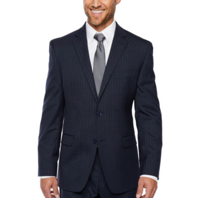 Collection by Michael Strahan  Blue Stripe Slim Fit Stretch Suit Jacket