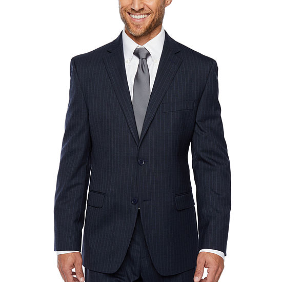 Collection by Michael Strahan  Blue Striped Slim Fit Stretch Suit Jacket