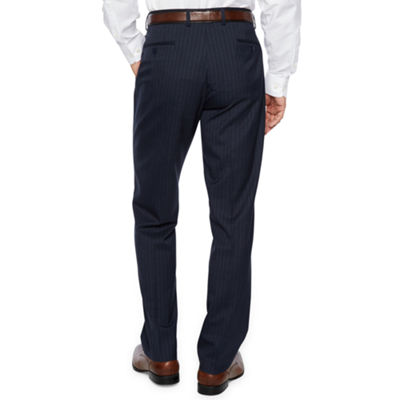 Collection by Michael Strahan  Blue Stripe Slim Fit Stretch Suit Pants